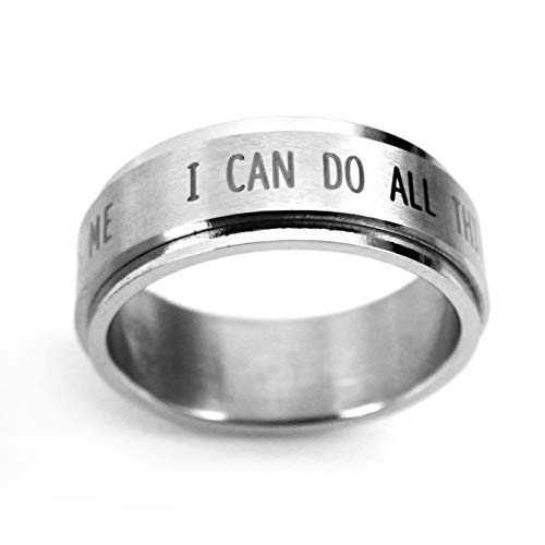 FORGIVEN JEWELRY RSS7 I Can Do All Things Stainless Steel Spinner Ring Size 6-Christian Jewelry