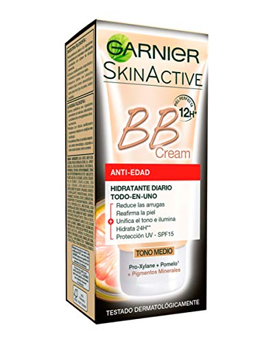 Garnier Skin Active - BB Cream Anti-Edad, Crema Hidratante Todo-en-1 para Pieles Maduras SPF15 con Pro-Xylane, Tono Medio - 50 ml