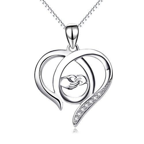 Perfekten Geschenk für Mama, Sterling Silber Mutter und Kind Hände Herz Anhänger Halskette, 45,7 cm (Mama ich liebe dich)