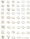 Milacolato 52-109Pcs Anillos de Plata Oro Vintage con Nudillos Mujeres Niñas Midi Finger Anillo Set para Mujeres Anillo Apilable