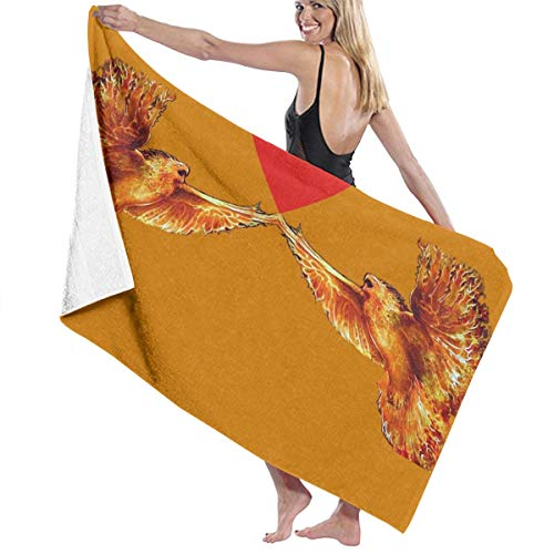 PengMing Flaming Eagle Fire Phoenix Soft and Super Absorbent Bath Towel, Suitable for Hotel, Swimming Pool, Gym, Beach-32in X 52in