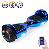 Hoverboard Self Balancing Scooter 6.5' Two-Wheel Self Balancing Hoverboard with Bluetooth Speaker and LED Lights Electric Scooter for Adult Kids Gift UL 2272 Certified Plating Dazzle U Series - Blue