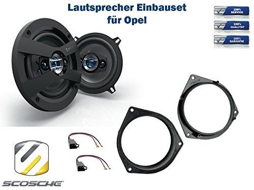 Opel Omega (B) Lautsprecher Einbauset (Türe Heck) inkl. Scosche HD5254 130mm 3 Wege Triaxial Lautsprecher 200Watt