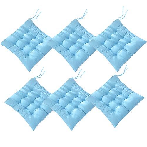 AIITLLYNA Cuscini per Sedie Set da 6,Cuscino per Sedia da Giardino 40x40 per Interni ed Esterni - Decorazione di mobili da Giardino di Diversi Colori Cuscini per sedie (Azzurro)