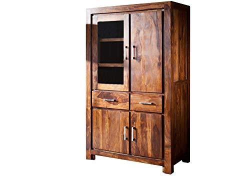 MASSIVMOEBEL24.DE Massivholz Palisander lackiert Möbel Life Honey Vitrine Sheesham Massivmöbel massiv Holz Metro Life #103
