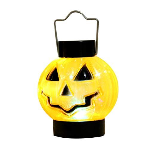 Halloween Mini Kürbis Nachtlicht LED Spielzeug Home Party Dekoration Zubehör (Orange, 10 x 6,5 cm)