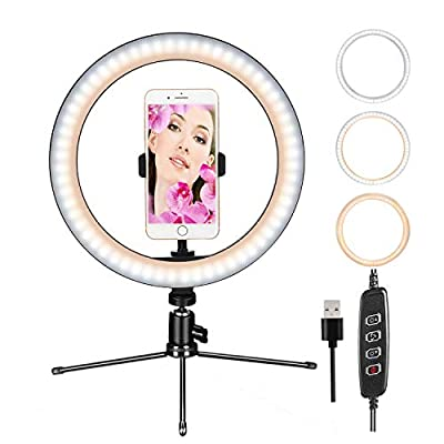 """CUMIZON LED Ring Light 10""""Dimmable Desk Makeup Ring Light Selfie Lamp with Tripod Stand & Cell Phone Holder for YouTube Video/Photography,Led Camera Ringlight for Live Stream,Makeup by CM CUMIZON"""