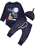 Baby Boys 3PCS Outfit Set Baby Bear Family The Moon and Back Long Sleeve Romper Starry Sky Pants with Hat (Blue05, 3-6 Months)