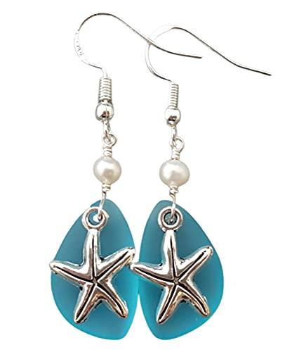 Handmade in Hawaii,'Twin Starfish' Turquoise Bay blue sea glass earrings, Freshwater pearls, Hawaiian Gift, (Hawaii Gift Wrapped