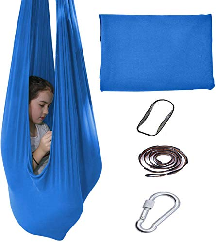 Zaoyun Indoor Therapy Swing for Kids Child and Teens More Special Needs, Cuddle Hammock Ideal for Autism, ADHD, Aspergers and Sensory Integration Snuggle Swing Hammocks (280 x 100 cm,Blau)