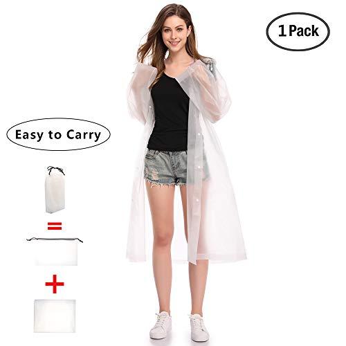 Regenjacken Wiederverwendbar Regenponcho, Umweltfreundliche EVA Regenmantel, Wasserdicht Regenjacke mit Aufbewahrungstasche für Regenschutz - By EnergeticSky™ (Weiße-1 Pack)