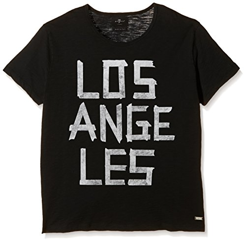 7 For All Mankind Los Angeles Tee-Sport Shirt Uomo Black (Los Angeles Black) Large