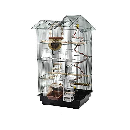 DWY Cages à Oiseaux Métal Cage de Place Perroquet Cage Oiseaux nicheurs Cage à Oiseaux Noir avec Chargeur Swing Bird Nest Cages à Oiseaux