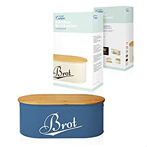 Lumaland Cuisine Bread Bin with Bamboo Lid - Blue