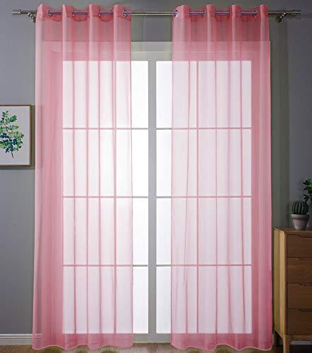 Juego de 2 Cortinas Transparentes con Ojales, para salón, Gasa con Ojales, Cierre de Cinta de Plomo, 245 x 140 cm, Color Rosa, 203322