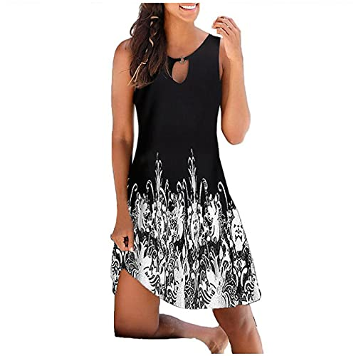 FQZWONG Women's Boho Summer Dress V-neck Print Hollow Out Sleeveless Loose Skirt Dress (C-Black,Large)