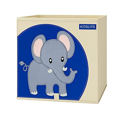 Parshall Caja de almacenamiento plegable de dibujos animados juguete caja de almacenamiento ligero portátil para organizar juguetes libro ropa oficina hogar elefante