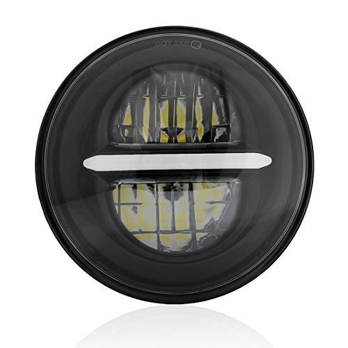 Wisamic 5-3/4 5.75 pollici Faro a LED con DRL Compatibile con Harley Davidson Dyna Street Bob Super Wide Glide Low Rider Night Rod Train Softail Deuce Custom Sportster Iron 883 (Nero) (Nero)