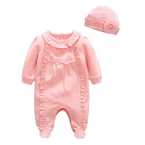FENICAL 2pcs bebé recién Nacido Ropa de algodón Mono Mono Mameluco con Sombrero