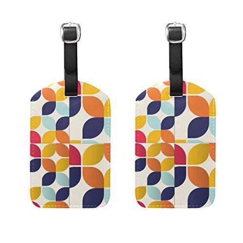 Bauhaus-inspiriertes Muster-Set, Gepäckanhänger, 2 Stück, tragbare Adress-Namensschilder, Kennzeichnungsschilder, Karo-Reise-Zubehör für Reisetasche Koffer