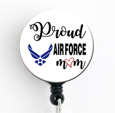 Proud Air Force Mom - Retractable Badge Reel with Swivel Clip and Extra-Long 34 inch Cord - Badge Holder/Military/Air Force/Nurse Badge