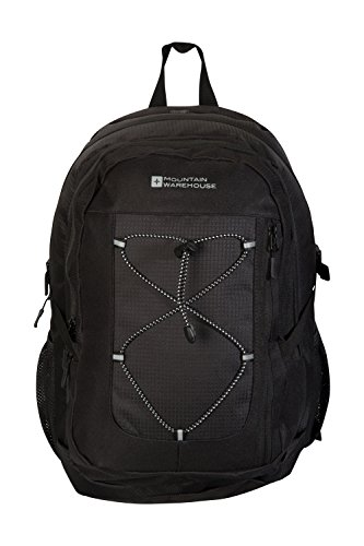 Mountain Warehouse Peregrine 30L Backpack - Ripstop Daypack - For Travelling, Festival Black