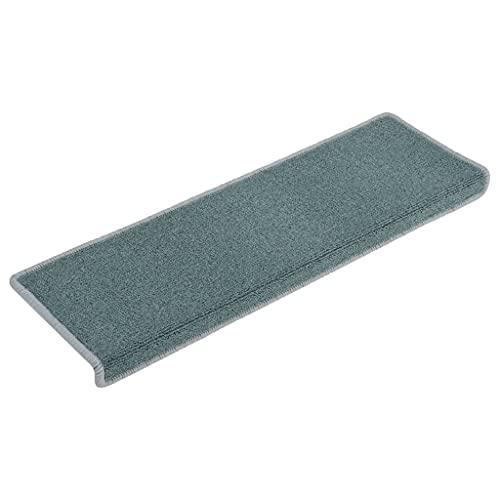 vidaXL 15x Alfombras de Peldaños de Escalera Protector Alfombrilla Adhesivos Lavable Decoración Amortiguación Acústica Antideslizante Azul