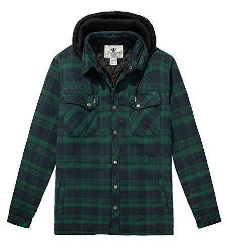 WenVen Men's Casual Sturdy Plaid Flannel Quilted Jacket Shirt Forest Green, S