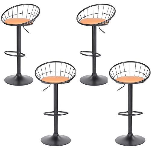 GOLDFAN Taburete de Bar Juego de 4 sillas de Cocina Altura Ajustable Giratorio a 360 ° con Respaldo, Color Naranja