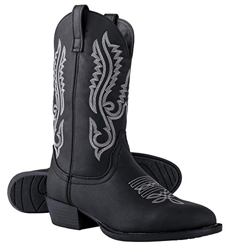 Canyon Trails Mens Classic Durable Pointed Toe Embroidered Western Rodeo Cowboy Boots (Black, Numeric_11)