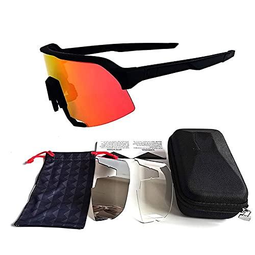 WEFH Gafas de sol Ciclismo Gafas de sol Gafas de bicicleta Gafas Accesorios Negro+Rojo