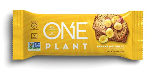 ONE Plant Protein Bars, Banana Nut Bread, Vegan, Gluten Free Protein Bars with 12g Protein & Only 1g Sugar, Guilt-Free Snacking for High Protein Diets, 1.59 Oz (12 Pack) (Best Banana Cream Pie Recipe Paula Deen)