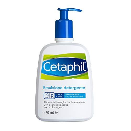 Cetaphil, Emulsione Detergente Fluido, Crema Viso e Corpo Idratante per Pelle Sensibile, Secca e Intollerante, Senza Profumo, Formato 470 ml