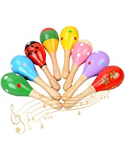 Muroad, houten maracas van Muroad, QSXX 8 stuks muziekinstrument maracas, maracas hout muziekinstrument voor kinderen om het potentieel te stimuleren, gebruik bruiloftsmuziekfeest (willekeurig patroon en kleur)