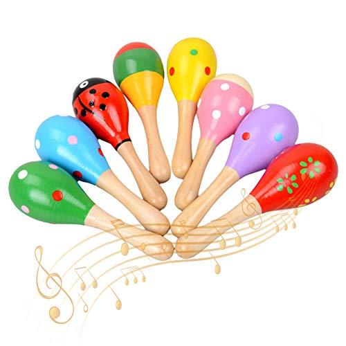 QSXX Maracas in Legno, 8 Pezzi Maracas in Legno Strumento Musicale,Strumento Musicale Educativo per Bambini,a Percussione,Riempite di Sabbia,12x3.8cm,Motivo e Colore Casuale