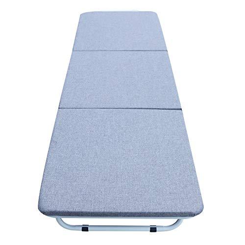Fetcoi Cama plegable plegable plegable para oficina, almuerzo, hospital, para acompañar a casa, cama para la siesta, plegable 2 – 1 taburete