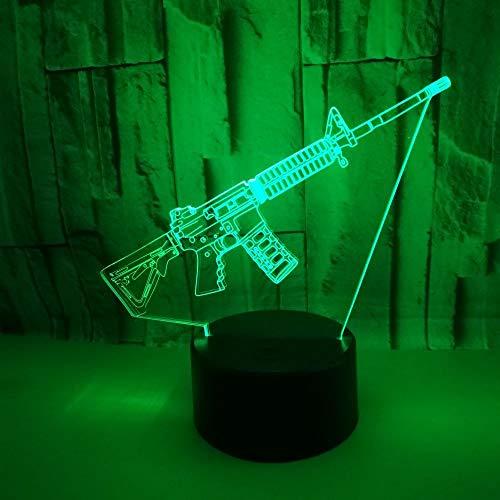 3D Jagdwaffe Lampe Led Nachtlicht Mit Fernbedienung, 7 Farben Wählbar Dimmbare Nachttisch Nachtlampe Geburtstag Geschenk, Spielzeug Geschenke Für Männer Frauen Kinder