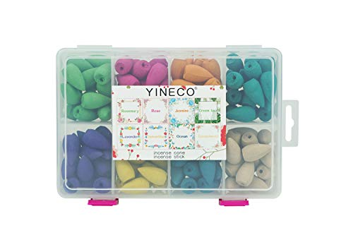 YINECO 140PCS 8 Mixed Natural Scents Backflow...