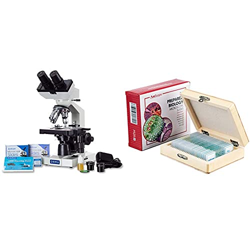 OMAX 40X-2000X LED Binocular Compound Lab Microscope w/Double Layer Mechanical Stage + Blank Slides, Cover Slips, & Lens Cleaning Paper, M82ES-SC100-LP100 & AmScope PS25 Prepared Microscope Slide Set