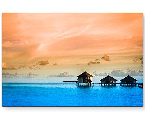 Paul Sinus Art Leinwandbilder   Bilder Leinwand 120x80cm Lagune mit Bungalows auf Stelzen