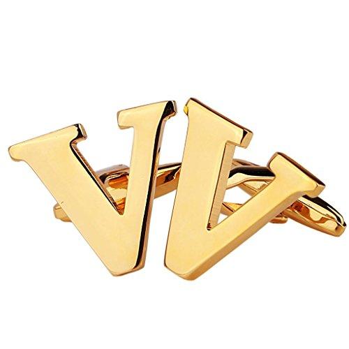 AmDxD Bijoux Chemises Collections de boutons de manchette pour homme Lettre de l'alphabet V Doré Environ 18 20