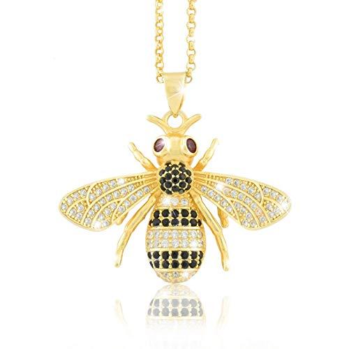 PAVEL GESCHIKT glanzende halsketting ketting BIENE hanger 18 karaat goud geplatteerd echte zirkonia met certificaat en sieradendoos