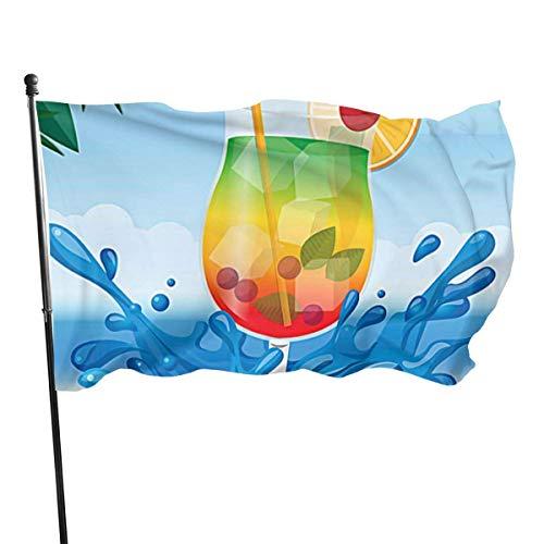 MYGED Cartoon Strand Seite Wasser Spritzen unter Frucht Getränk Flagge Retro Outdoor Flagge Garten Flagge Yard Flag Wand Rasen Banner Home Flag Dekoration 3 'X 5'