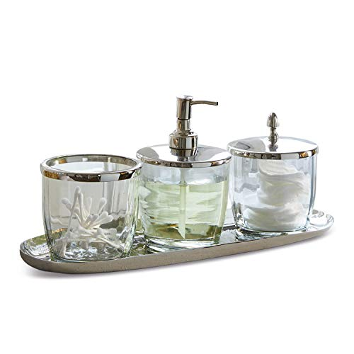 Loberon Bad- Set Pommard, Edelstahl, Glas, Messing, H/B/T 17/38 / 13 cm, Silber