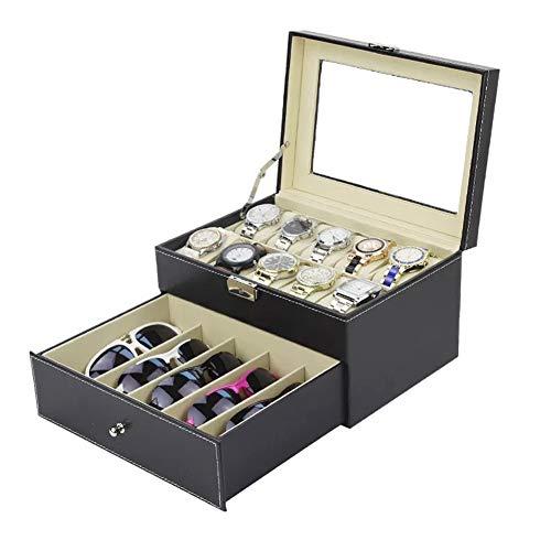 Unibell Brillenbox, Uhrenbox SchmuckkÄstchenmit Schaufenster, Schubladenbox für Brillen Uhrenkasten mit Glasdeckel Kann 8 Brillen und 10 Uhren aufnehmen