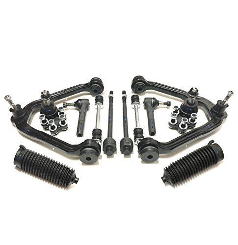 PartsW 12 Pc Complete Suspension Kit for CHEVY Silverado 1500 GMC Sierra 1500, Front Upper Control Arms Lower Ball Joints Sway Bar End Links Inner & Outer Tie Rod Ends Idler & Boots Bellows