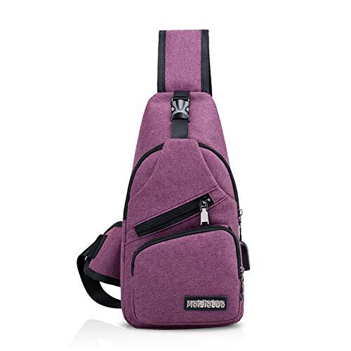 FANDARE Unisex Schultertasche Herren Damen Brusttasche Sling Bag Rucksack mit USB Umhängetasche Sporttasche für Wandern,Abenteuer,Sport, Reisen und Joggen Lila
