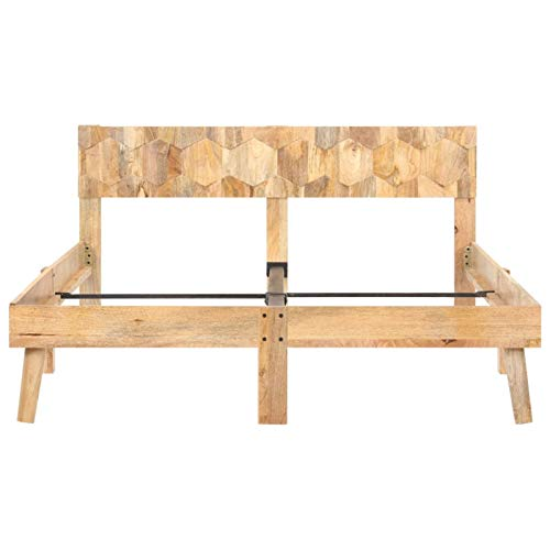 Bulufree Schlafzimmer praktische Massivholz Mango Holz Bettrahmen, Moderne Stil...