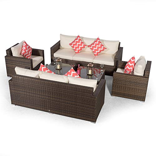 Giardino Sydney 8 Seater Brown Rattan Conversation Sofa Set with 2 x 3 Seater Sofa, 2 x Armchairs & 2 x Coffee Table | 8 Seat Rattan Garden Sofa Set with All Weather Furniture Covers