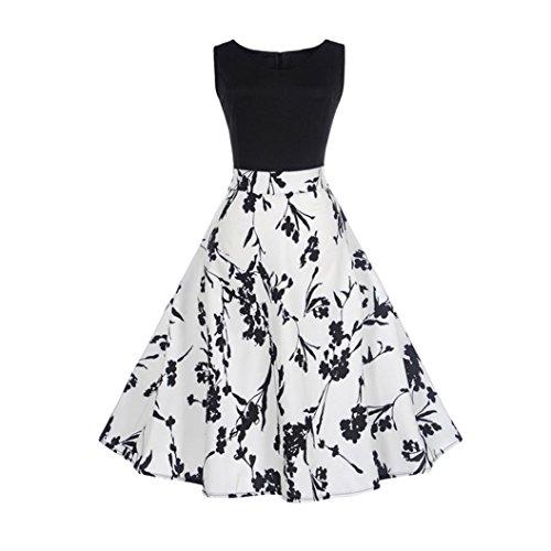 Damen Kleider Frauen Vintage Retro Blumen Drucken Prinzessin Abendkleid Hevoiok Kleidung Mode Bodycon Partykleid Elegant Ärmellos Prom Swing Kleid (Weiß, 2XL)